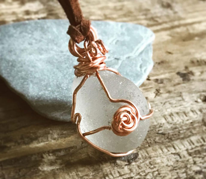 A beautiful copper necklace using sea glass from Cornish beaches.