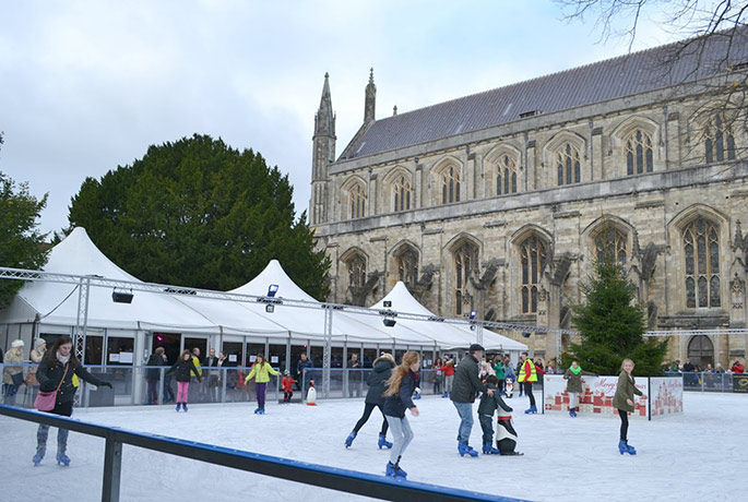 Skate in the picturesque beauty of Winchester Cathedral, Hampshire.