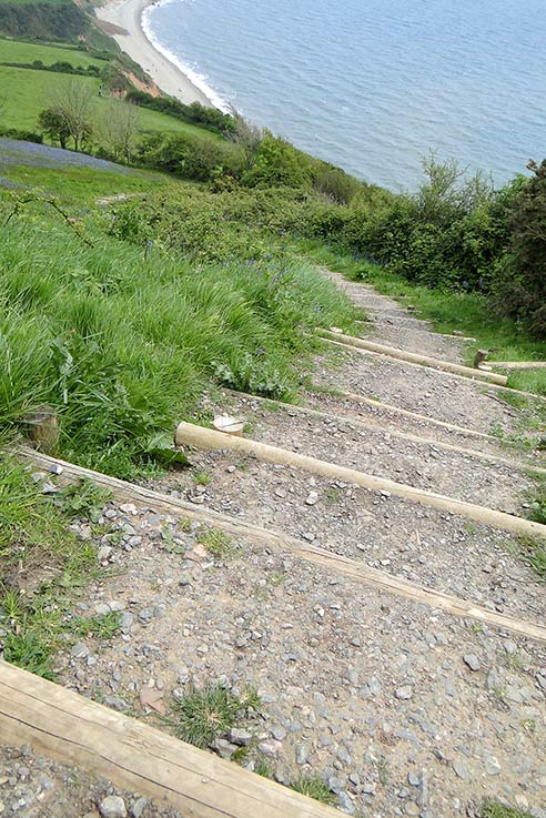 Steps down to Salcombe Mouth beach