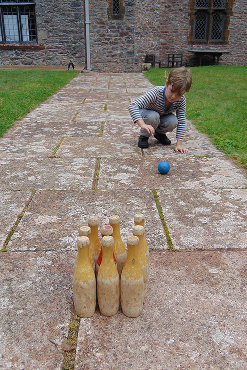 We had a go at playing skittles in the sunshine at Compton Castle, Devon.