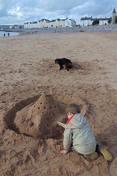 Sandcastle building on Exmouth beach in Devon is perfect for those with kids and a dog to keep entertained.