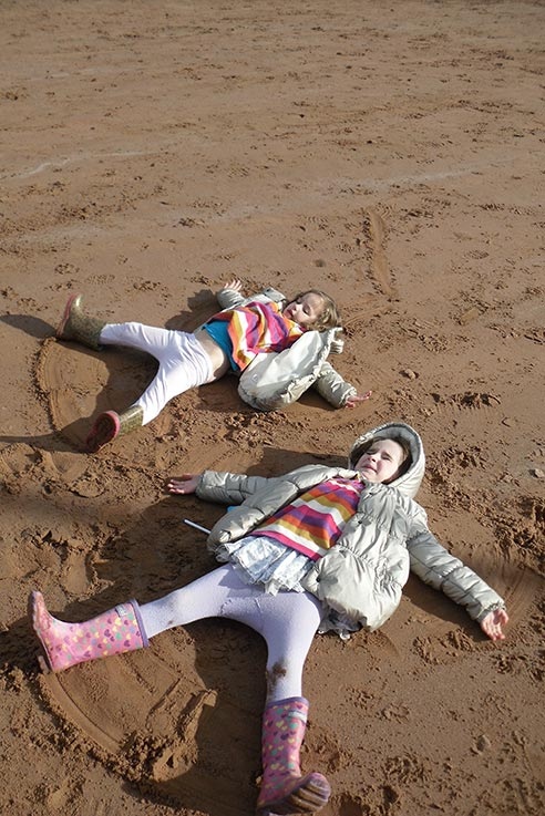 Sand angels at Goodrington Sands