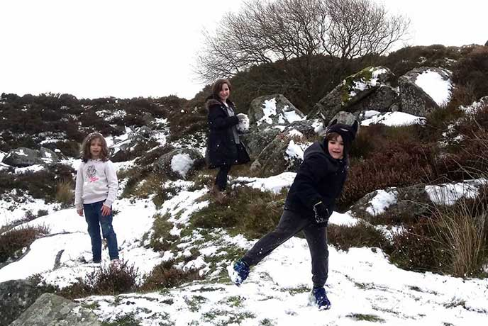 Haytor Quarries is really fun in the snow.