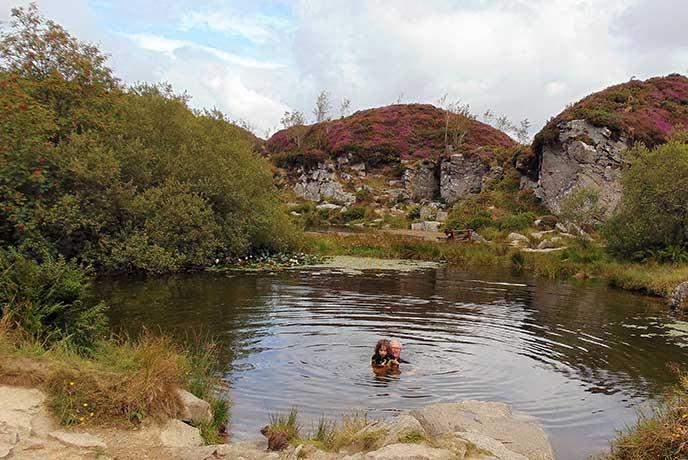 Fun in the ponds at Haytor Quarries, Dartmoor.
