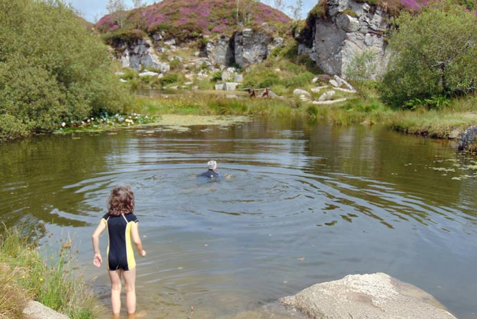 Jump into the pool and go for a swim at Haytor on Dartmoor.