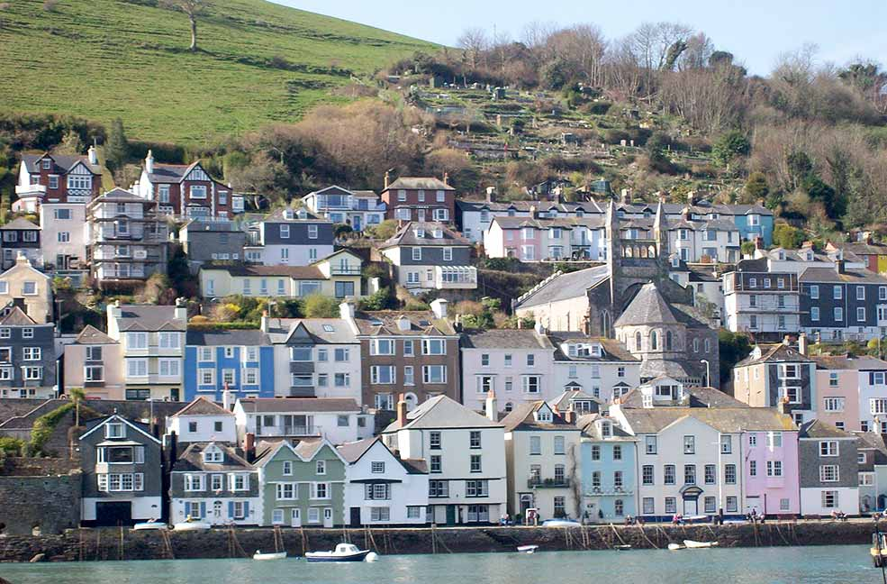 Houses clinging to the hillside in Dartmouth