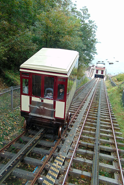 The funicular railway is the best way to get down to Oddicombe beach.