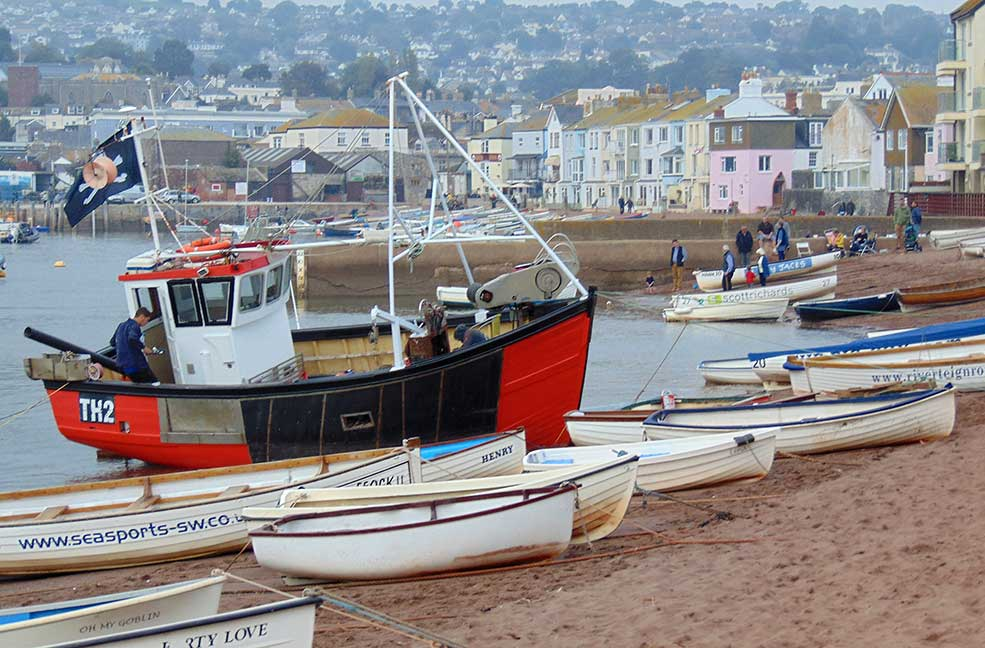 Teignmouth beach boats
