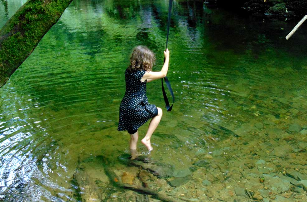 Wild swim rope swing