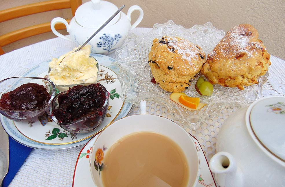 Scones and jam and tea