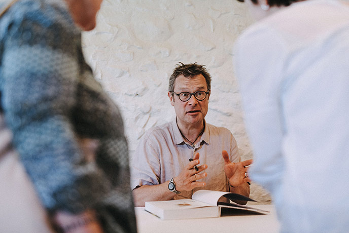 Hugh chatting to visitors to the River Cottage Food Fair.