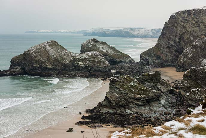 The snowy sands of Watergate Bay make us feel very festive.
