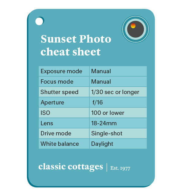 Classic Cottages sunset photography cheat sheet
