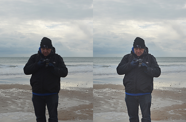 Checking snaps on the DSLR at Praa Sands in Cornwall.