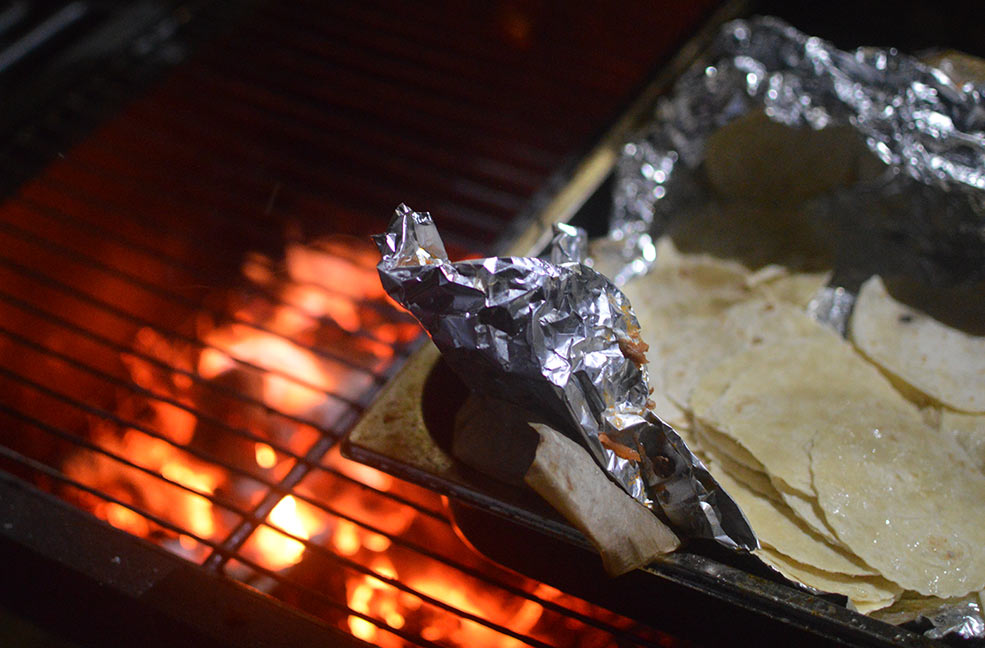 The toasty grill keeping our tacos warm.