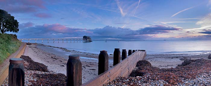 Bembridge beach and RNLI Lifeboat Station at sunrise
