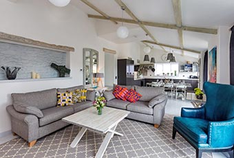 Colourful interior of a dog friendly cottage in Somerset